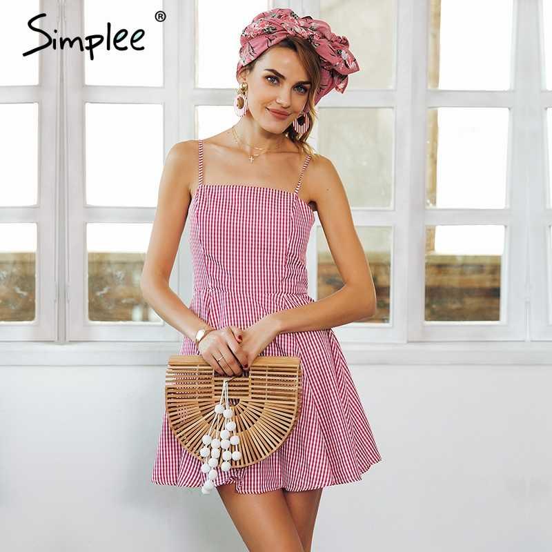 Женское летнее мини-платье Simplee в клетку, пляжное платье с открытой спиной и высокой талией, короткое платье с поясом