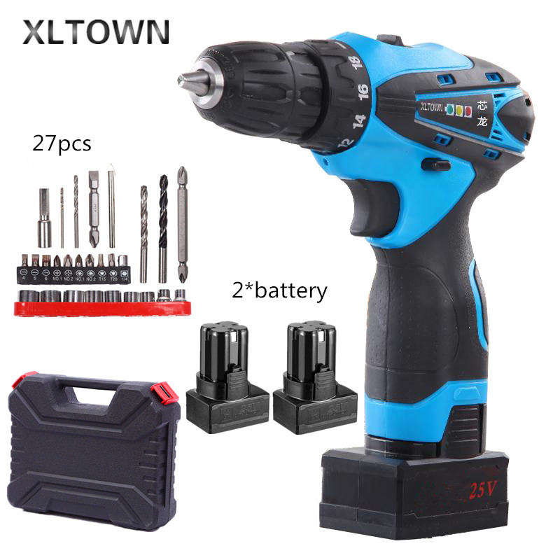Xltown new 25v rechargeable lithium battery electric screwdriver with 2 battery two-speed switch mini electric drill power tool