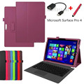 "Ultra-thin pu leather Tablet Case Cara para for Microsoft Surface Pro 4 12.3"" Case Cover for Surface Pro 4+Stylus+OTG"