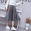 2016 mujeres del otoño falda metálica vintage cintura alta falda larga plisada negro oro plata caliente falda de invierno a-line saia midi