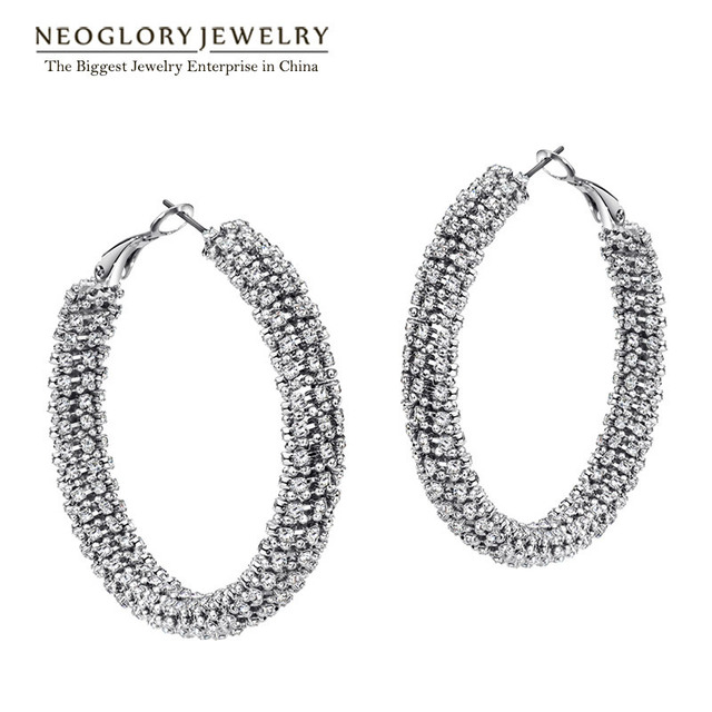 Neoglory Czech Rhinestone  Charm Hoop Big Earrings for Women Exquisite Fashion Jewelry  2017 New EA1