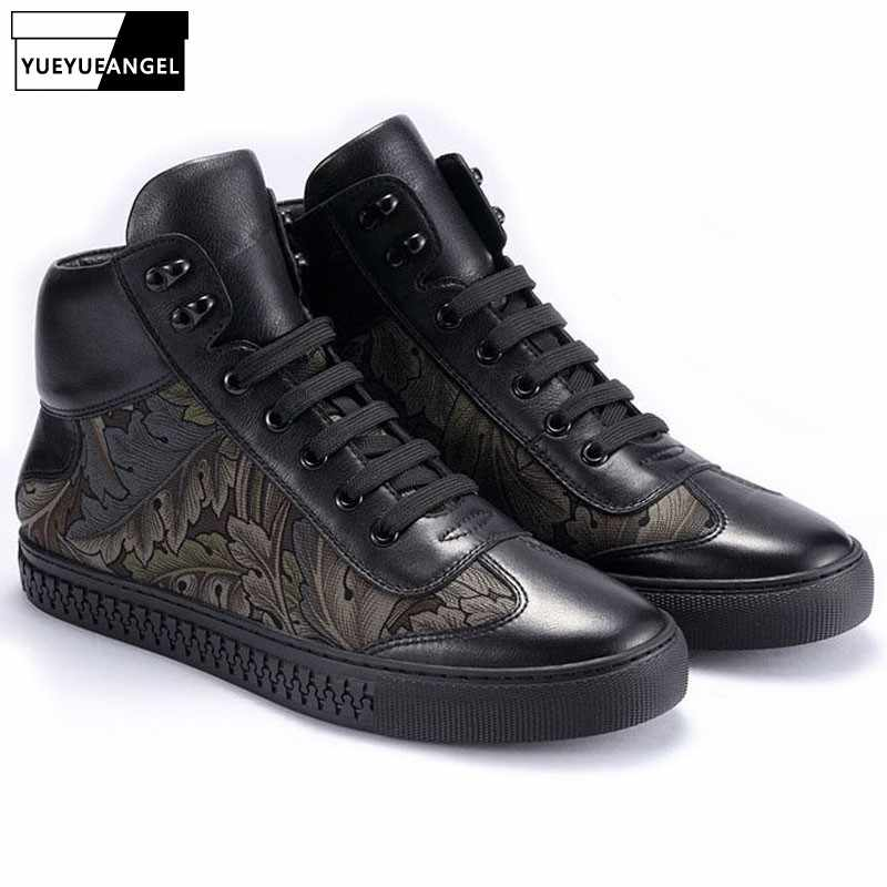 Fashion Brand High Top Sneakers Men Fall Winter Genuine Leather Warm Cotton  Shoes Flower Print Black 399902b2e9f8