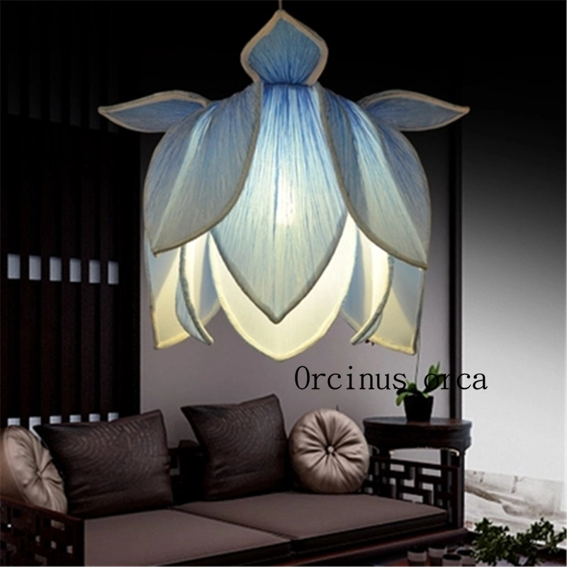 Le nouveau Chinois classique imitation tissu pendentif lotus lampe Temple salon de thé restaurant créatif De Yoga lotus lampes