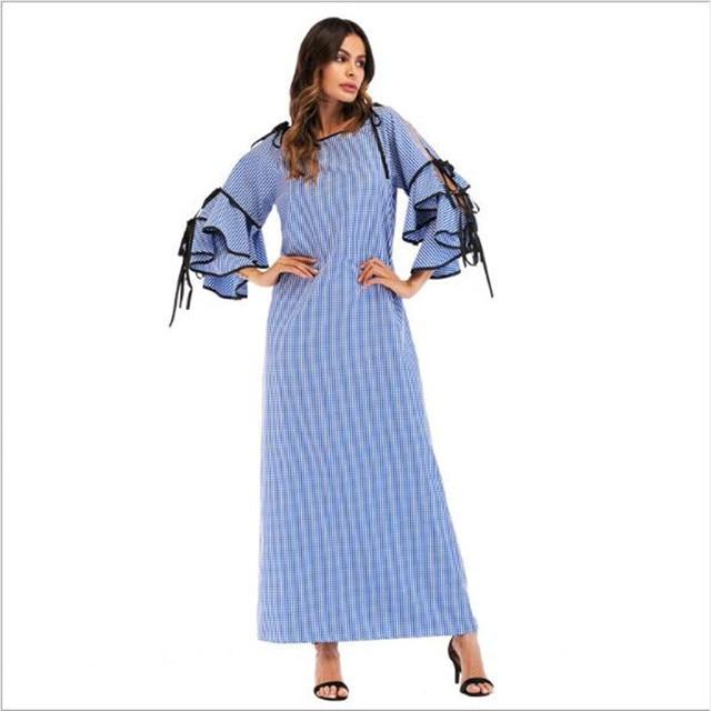 06849710bf Women s Plaid Maxi Dress Vintage Muslim Abaya Tunic Long Robe Gowns Kimono  Jubah Ramadan Arabic Islamic Prayer Clothing QC535