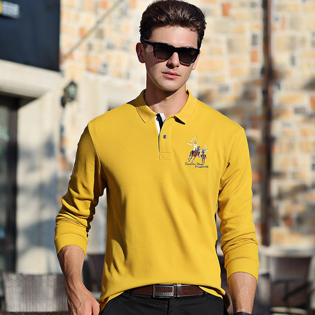 48781cfad29 2018 Autumn Winter Men s POLO Shirt Business Casual Long-sleeved Tops Male  New brand Fashion Embroidery solid color Polos Shirts