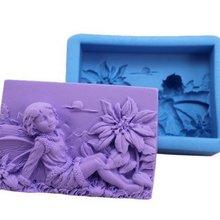 Прямоугольная квадратная Цветочная фея и Пион силиконовая форма для мыла Handmde форма для творчества инструмент для изготовления мыла