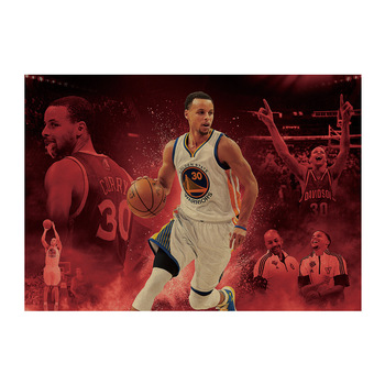 Stephen Curry C/Warriors basketball super star athlete /kraft paper/Cafe/bar poster/Retro Poster/decorative painting 51x35.5cm