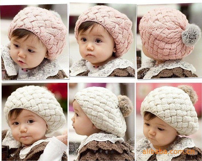Baby hats Pom pom knit hat girls beanie winter toddler kids girl faux warm knitted caps knitting cap 5months-5years bebe