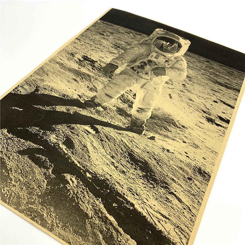 Старинные фото Аполлон Луна посадочная история фильм винтажные Наклейки Плакаты украшение ретро обои 42x30 см GGB026