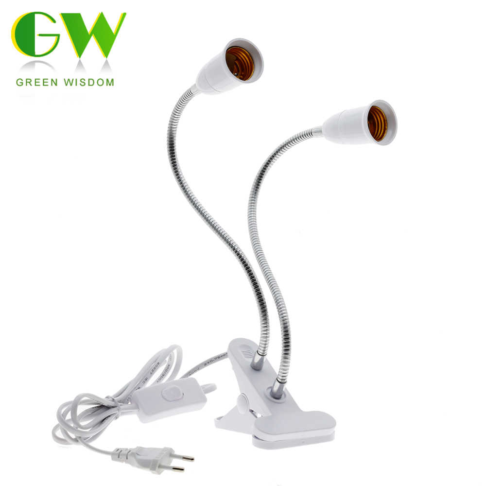 360 Degrees Flexible Lamp Holder Clip E27 Base With On Off Switch EU Plug For Desk Lamp LED Grow Light E27 Lamp