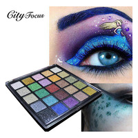 City Focus 25 Colors Eyeshadow Palette Matte Diamond Glitter Matallic Eye Shadow Palette Makeup Set For