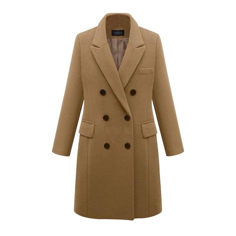 Vintage Wool Office Ladies Casual Plus Size Elegant Women Long   Trench   Coats Slim Lapel Winter Button Pocket Female Overcoats