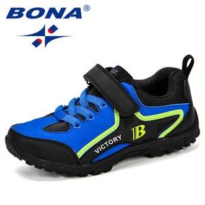 Image 2 - BONA новый дизайн, стильная детская спортивная обувь для мальчиков, Весенняя амортизирующая подошва, слипоны, лоскутные дышащие детские кроссовки, беговые кроссовки
