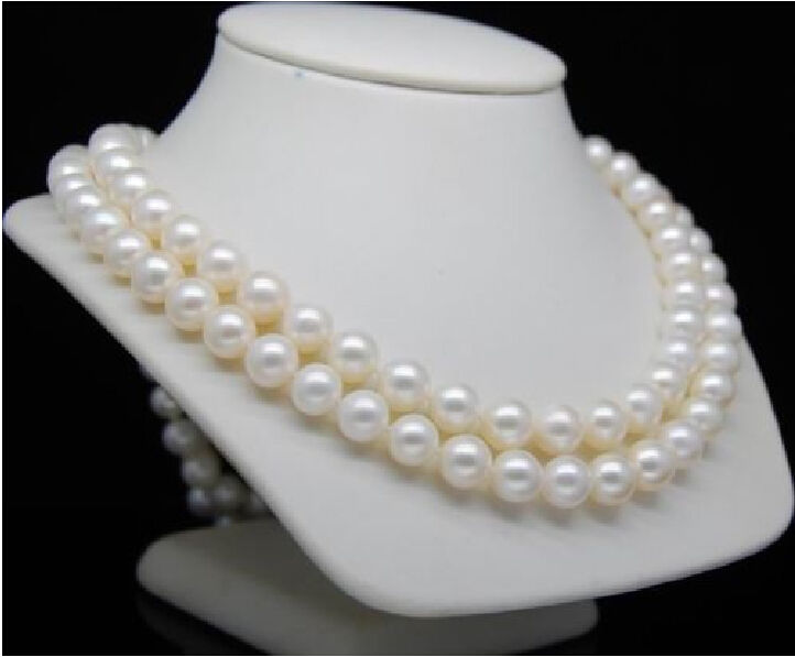 "hot Double Strand 10-11mm south ses white pearl necklaces 17""&18"" 14K Gold t"