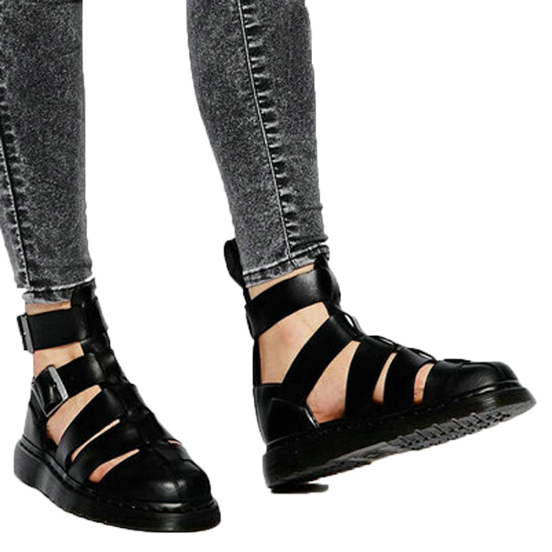 Summer Style Flats Heel Cut outs Men Sandals Buckle Thick Heel Causal Shoes Mens Leather Italian