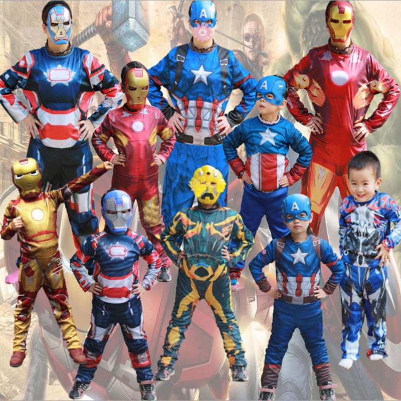 Sensfun 2018 Captain American Spiderman Superman Robin The Hulk The Flash Muscle Cosplay Costume Avengers For Kids For Party