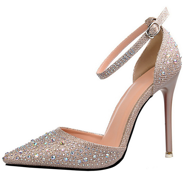 Women Pumps Fashion Openwork High Heels Bling Sequins Women Heels Shoes Female Rhinestone Party Pumps Shoes Gold Sliver 305-3