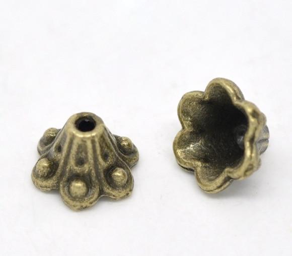 Zinc Metal Alloy Beads Caps Flower Antique Bronze(Fits 8mm Beads)Dot Pattern 10mm(3/8
