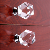 Modern Simple Fashion Polygon Clear Glass Drawer Tv Cabinet Knobs Pulls Silver Chrome Kitchen Cabinet Dresser
