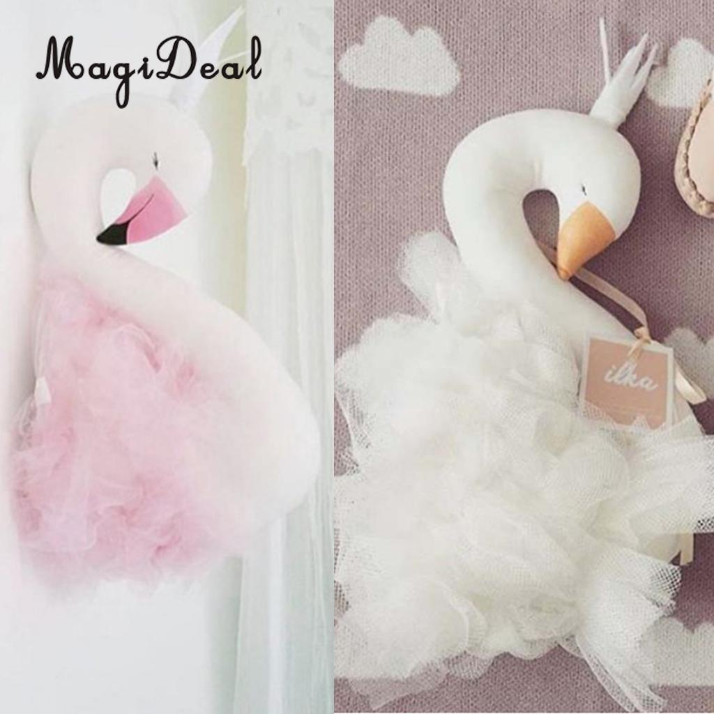 Set 2 Pieces Swan Design Wall Hanging Ornament Decorative Pillow for Kids Children Bedroom Wall Bed Decoration