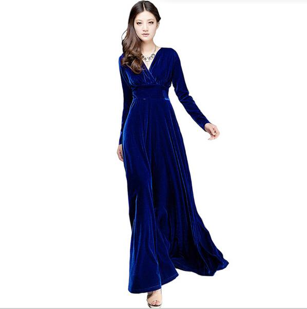 cfc249cb787cd US $24.67 25% OFF|Aliexpress.com : Buy Long Dres Plus Size S~3XL Women  Winter Dresses Long Sleeve V Neck Maxi Dress Velour Women Sexy Dresses  Party ...