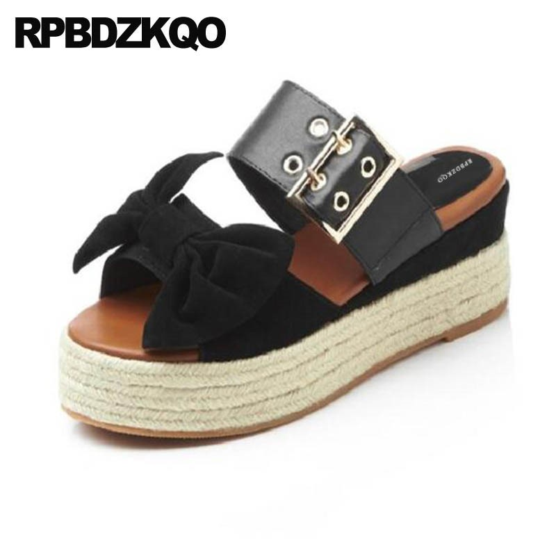 Pumps Slides Shoes Espadrilles Black Bow Genuine Leather 2018 Women Wedge Platform Sandals Luxury Designer Rope Ladies Slip On 2016 summer women flat platform slippers fashion hemp rope insole ladies genuine leather buckle sandals designer espadrilles