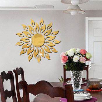 Acrylic Mirrored Decorative Sticker Mirror Wall Stickers Sunflower Bedroom Living Room Decorative Wall Stickers for Kids Room αυτοκολλητα τοιχου καθρεπτησ