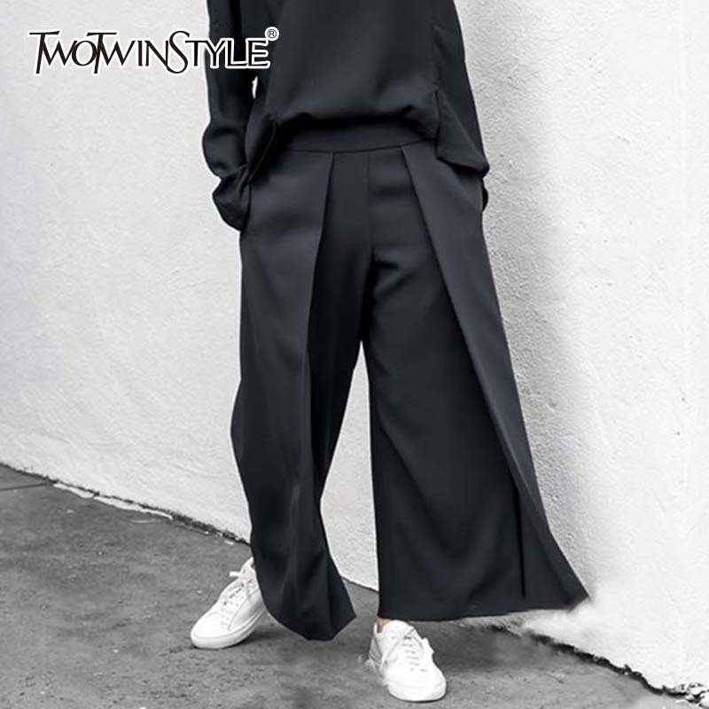 TWOTWINSTYLE Palazzo   Wide     Leg     Pants   For Women Big Size Patchwork Zipper Hgih Waist Trousers Female Black Ankle Length   Pants   Tide