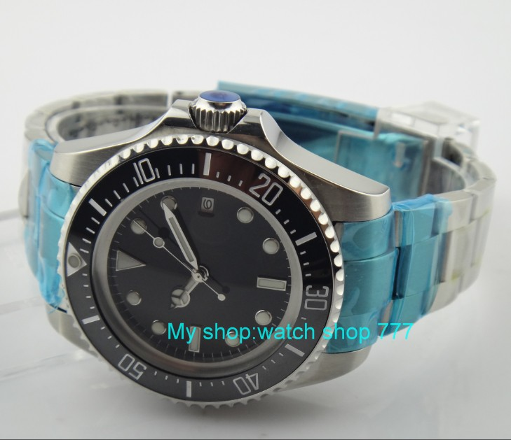 43mm big PARNIS Black ceramic Bezel Automatic Self-Wind movement Men Watches luminous Mechanical watches 28SY