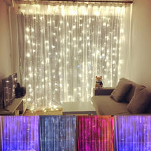 3*3M Led Icicle Led Curtain Fairy String Light Fairy Light 300 Led 220V EU Light For Wedding Home Garden Party Twinkly cortina(China)