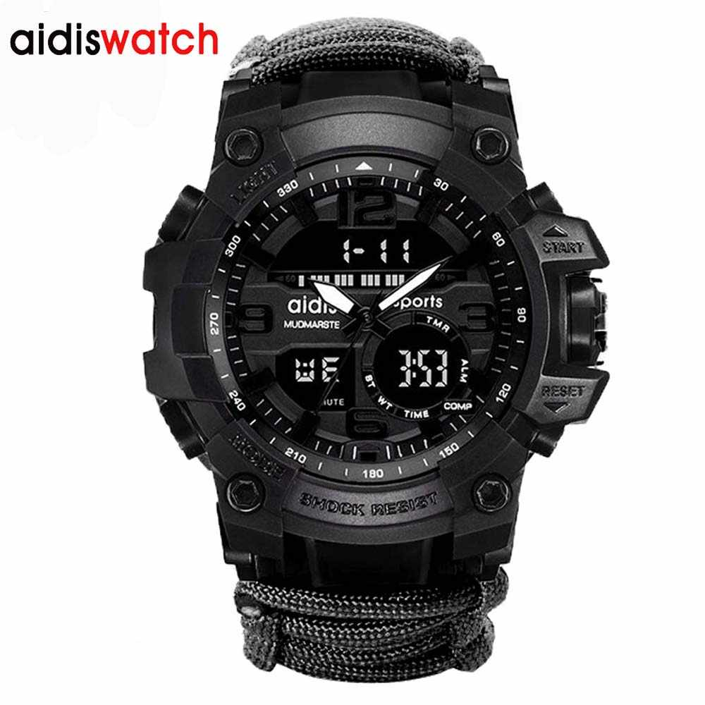 Addies Sports Watches Dual Display Analog Digital LED Luminous Electronic Quartz Wristwatches Waterproof Swimming Military Watch