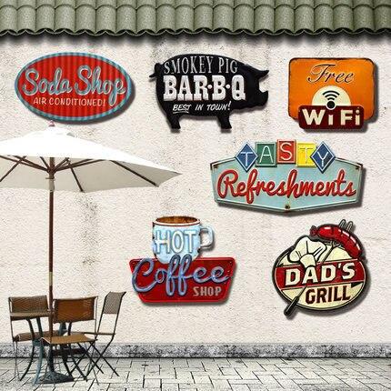 retro irregular shade metal tin signs for bar pub cafe hotel garage