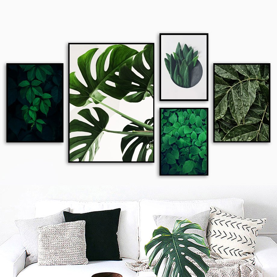 Fresh Plant Mint Palm Leaf Wall Art Canvas Painting Green Nordic Posters And Prints Pictures For Lining Room Decor