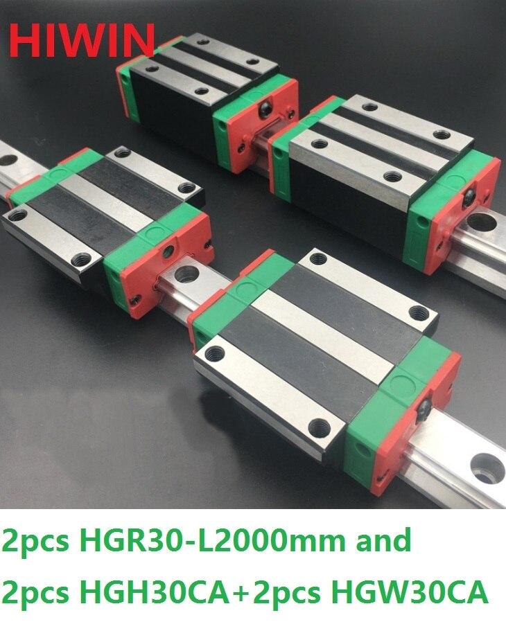 2pcs 100% original Hiwin linear guide rail HGR30 -L 2000mm + 2pcs HGH30CA and 2pcs HGW30CA/HGW30CC linear block CNC 2pcs 100