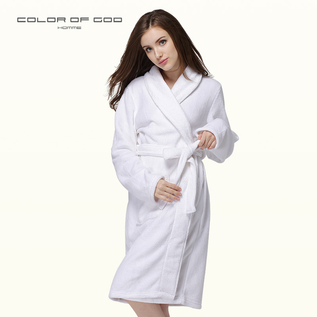 2dc23d51d6 Autumn Winter Warm Thick Coral Fleece Bathrobe Women Pure White Hotel  Nightgown Female Spa Long Kimono