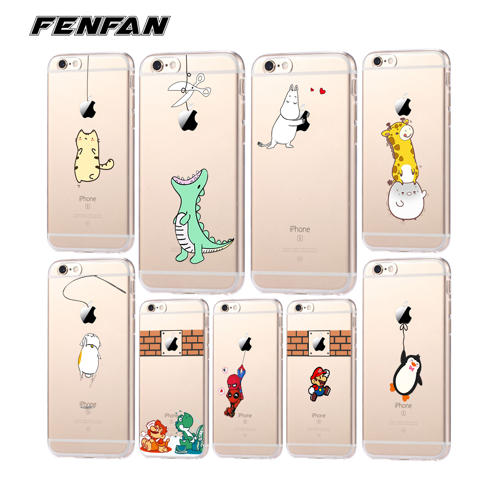 Soft silicone TPU for coque iPhone SE case 5 5S 6 6S 7 8 Plus Cute Dinosaur cover new arrivals original for fundas iPhone X case