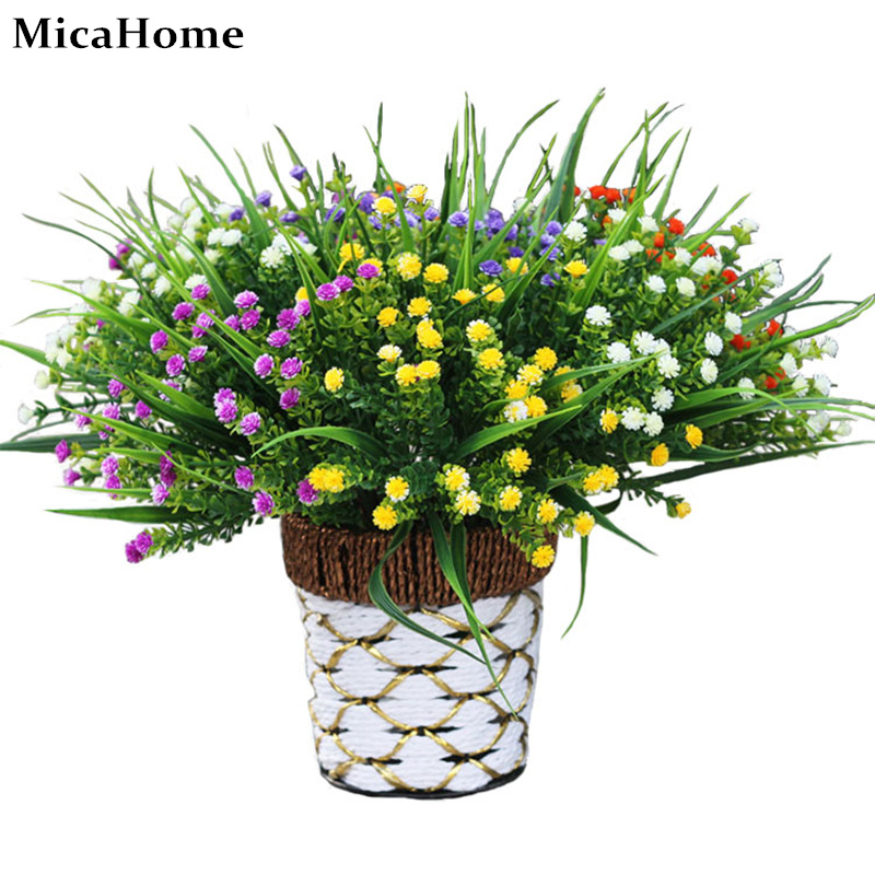Artificial flowers plastic 5 branches jasmine green grass for Artificial flowers decoration for home