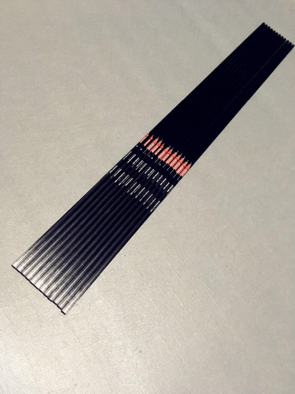spine 300 340 400 500 600 12pcs pure carbon arrow shafts Recurve compound bow archery