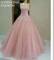Elegant Customized Pink Cap Sleeve Ball Gown Evening Dress 2017 Saudi Arabic Evening Gown Caftan Formal