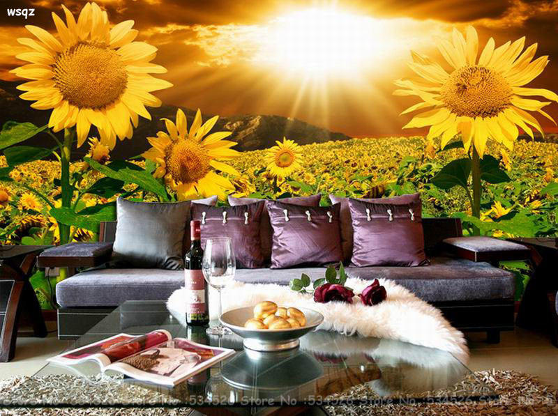 Us 26 98 Sunflower Photo Gold Foil Wallpaper Mural Environmental Bedroom Wall Paper The Fairy Tale Background Homedecoration In Wallpapers