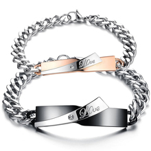 "Jewelry 2 pcs Men's Women's Bracelet, Valentine's Day Love Friendship Bracelet, ""Love"", Stainless Steel Zirconia Diamonds"
