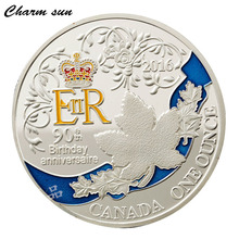 Queen 's 90th Anniversary Coin Canadian Maple Leaf Plated Silver Coins Home Party Decoration Ladies Holiday Gifts(China)