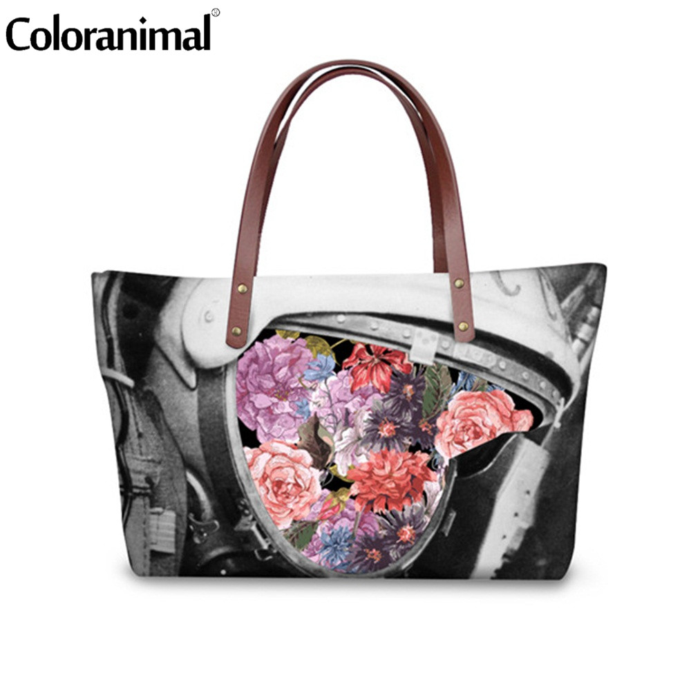 Coloranimal 2018 Designer Brand Flower Lady Hand Bag Women Funny Print Large Capacity Shoulder Handbag Daily Shopping Tote Bag