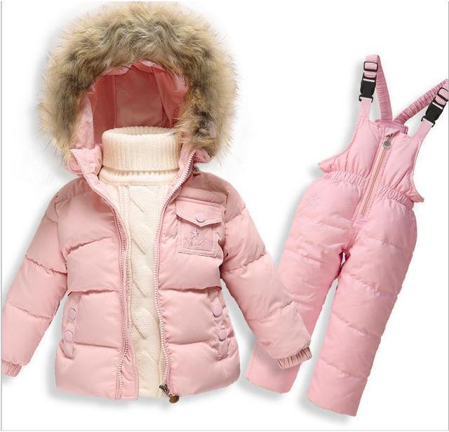 Детские мальчики девочки снег износ одежды белая утка вниз snowsuit зима Теплая и пиджаки пальто сноуборд одежда утолщенной Детская Одежда
