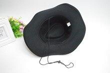 Autumn Winter Unisex Woolen Western Cowboy Hats with Jewel Belt Buckle Fashion Wide Brim Fedoras Hats Caps for Men Women