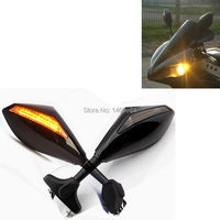 Motorcycle Racing Rearview Mirrors With Turn Signal LED Light For Hyosung Gt250r Motorbike Accessories Handle Bar