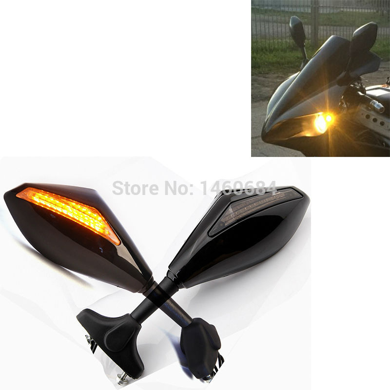 Motorcycle Racing Rearview Mirrors With Turn Signal LED Light For Hyosung gt250r Motorbike Accessories Handle Bar End Mirror|bar end mirror|end mirror|motorcycle rearview - title=