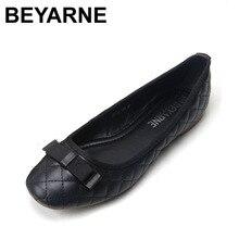 BEYARNE موضة ستار نمط كعب مسطح f أحذية نسائية أحذية النساء الحلو الشقق النساء أحذية من الجلد الحقيقي