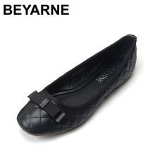 Beyarneファッションスタースタイルフラットヒールf女性の靴甘い女性本物のレザーシューズ