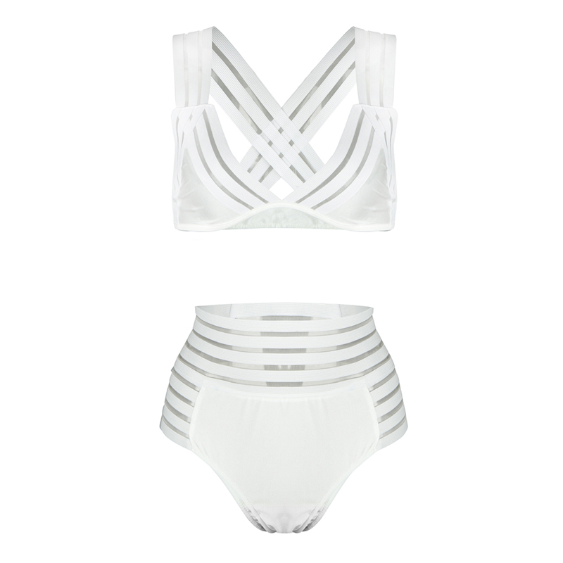 Women Summer Two Piece Set Sheer Mesh Stripes Triangle Bandage Cross Over Back High Waist Brief Solid Sexy Popular Sets